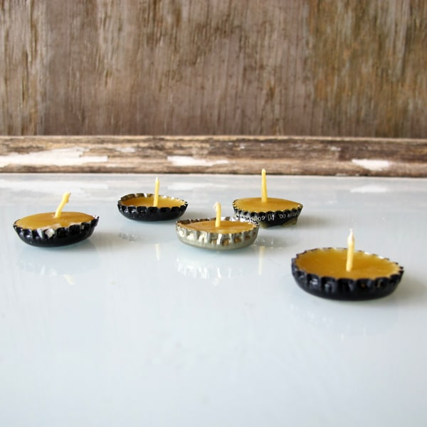 Beeswax Bottlecap candles