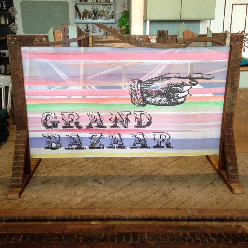 Custom built banner stand for Grand Bazaar event