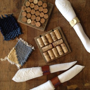 wine corks, leather napkin rings, woven coasters
