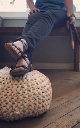 knitted ottoman pouf