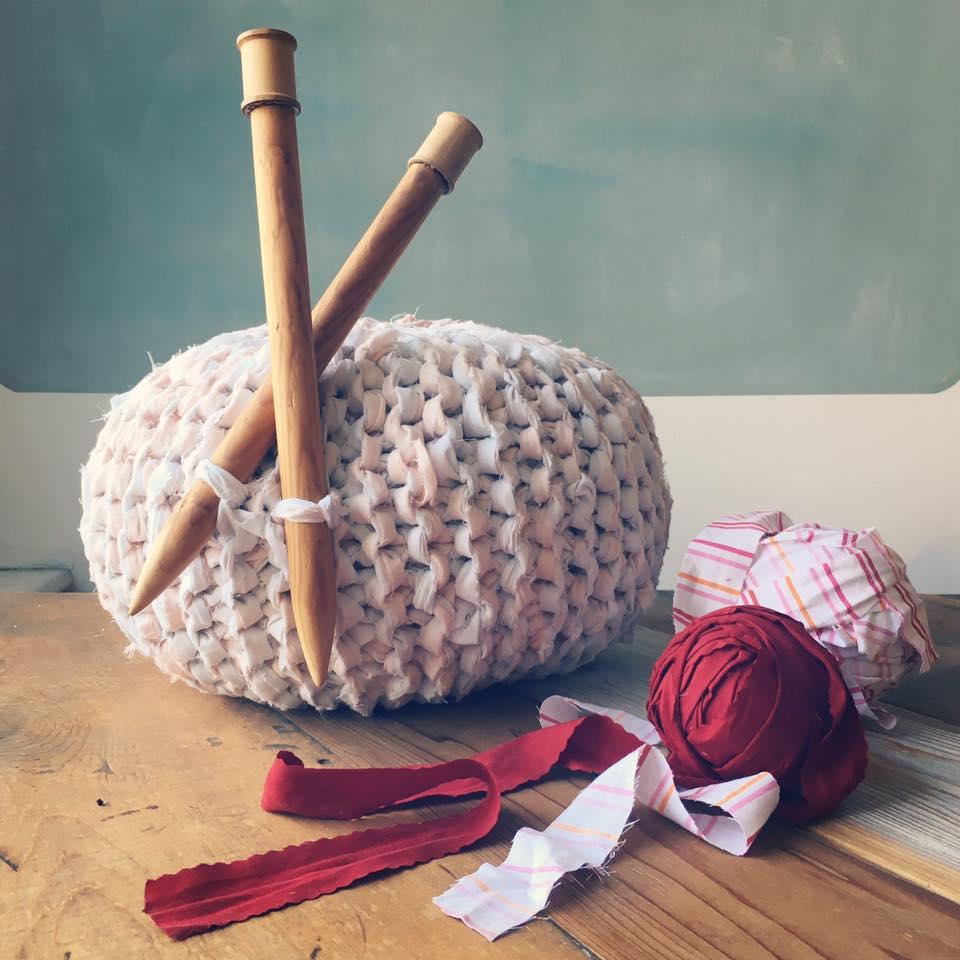 knitted ottoman poufs