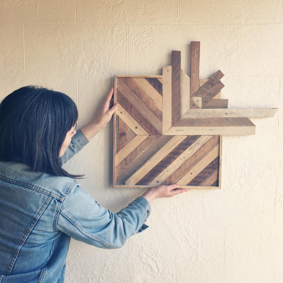 Reclaimed wood wall art perennial