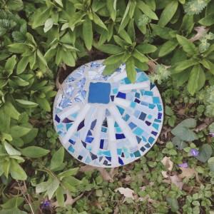 upcycled mosaic garden stone