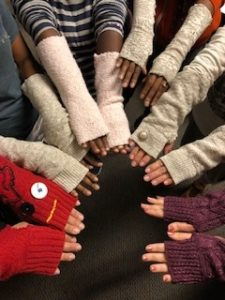 Group upcycling event party armwarmers